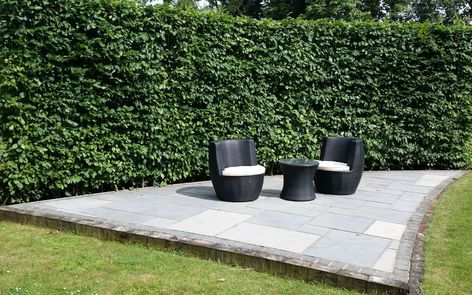 A secluded seating area in a long, narrow garden design in Woking, Surrey.