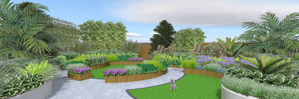 Garden design in Ascot, Berkshire with raised beds and artificial grass.